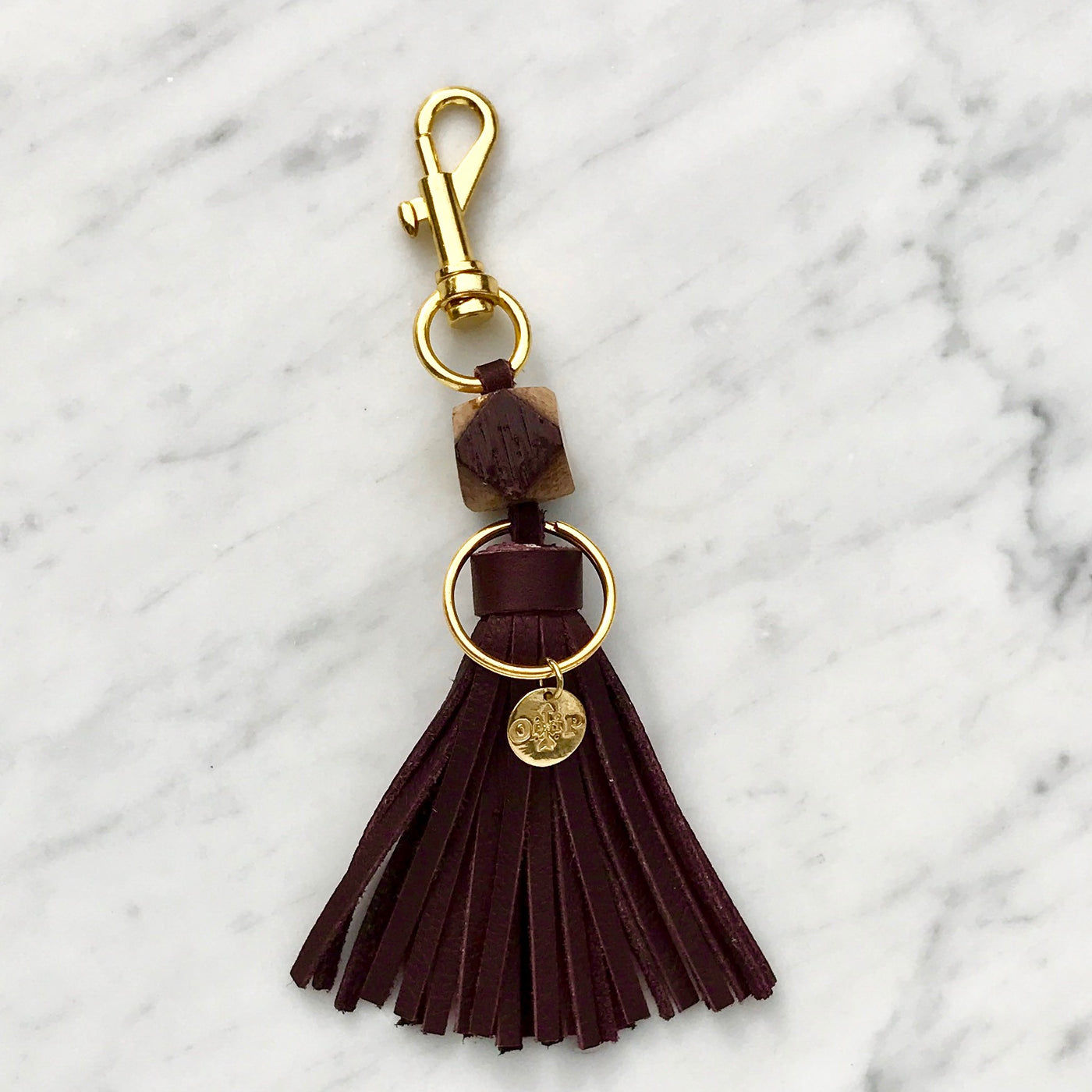 Cabernet Wine Barrel Tassel Keychain - Olive and Poppy