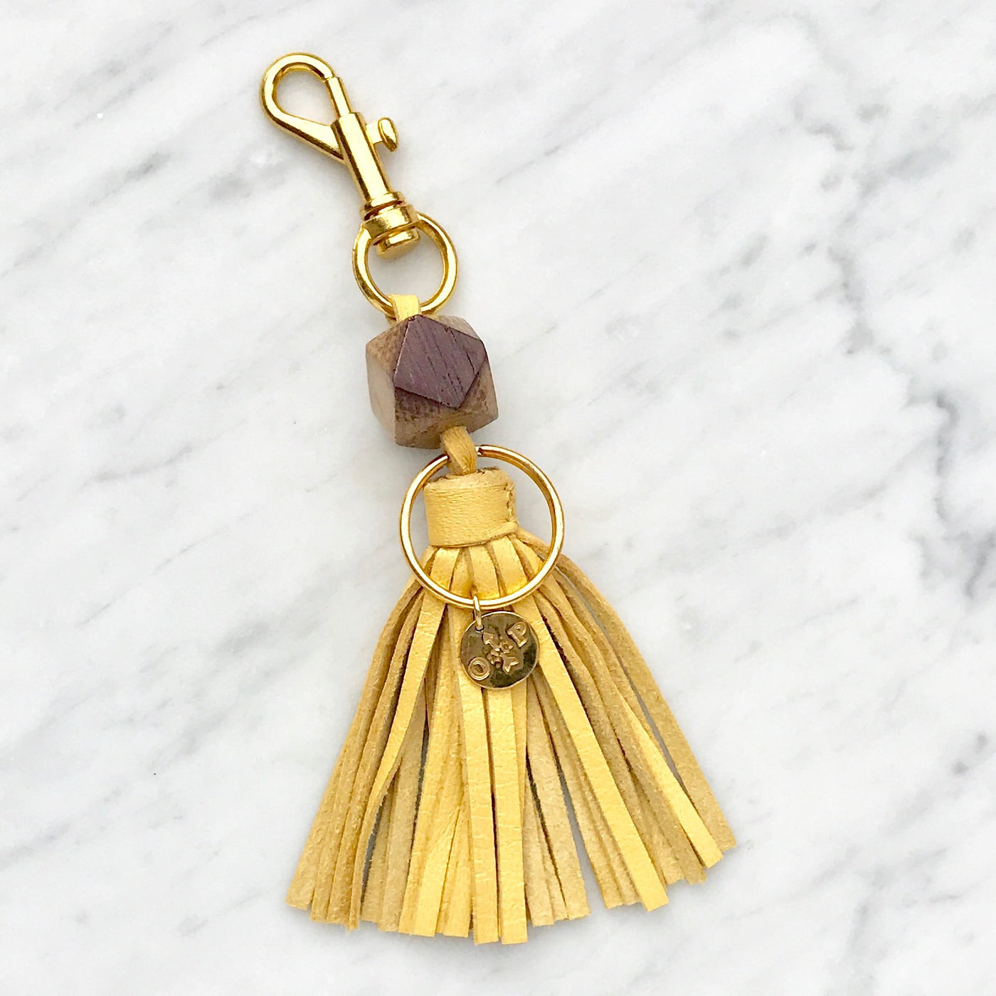 Chardonnay Wine Barrel Tassel Keychain - Olive and Poppy