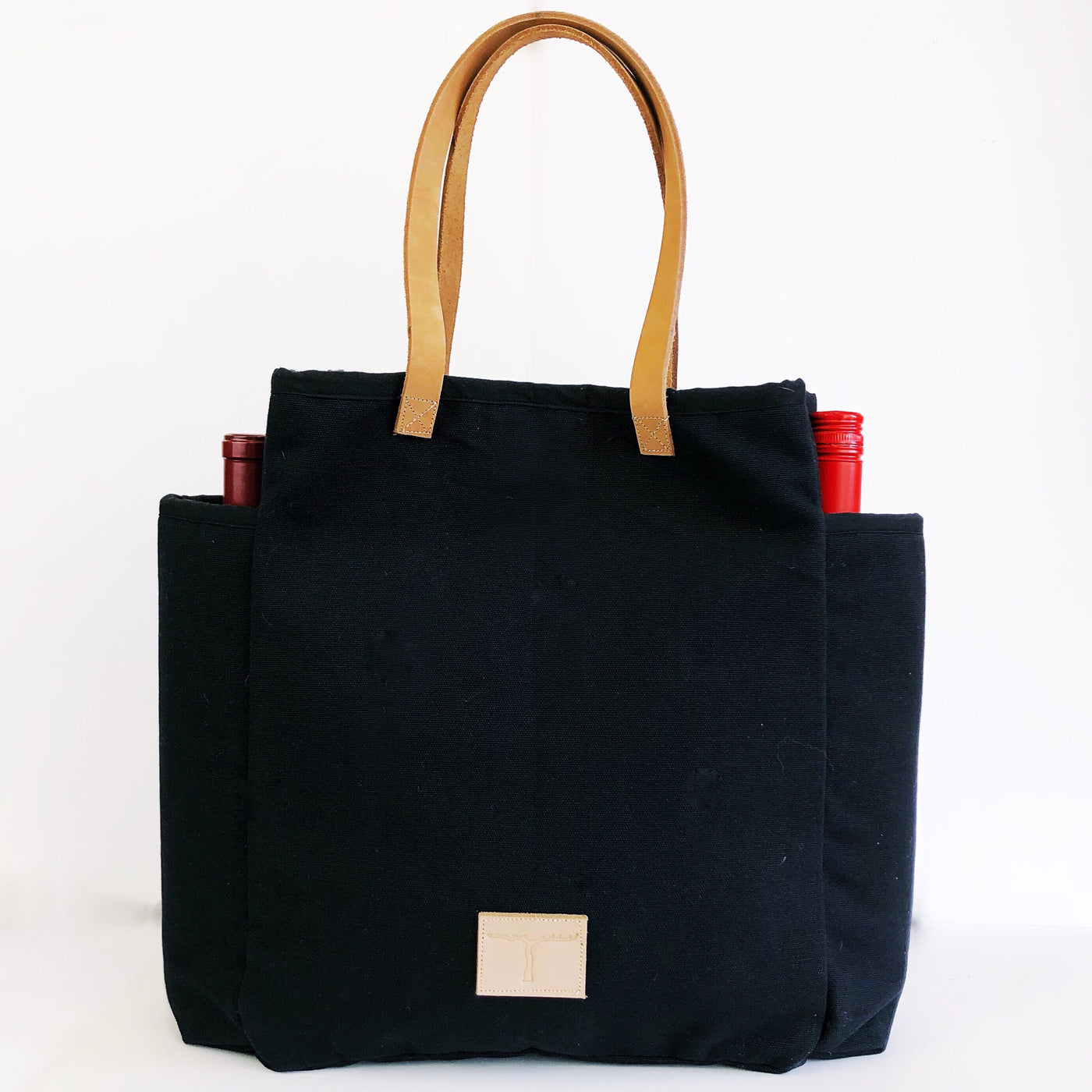 Two Bottle Market Tote Bag - Olive and Poppy