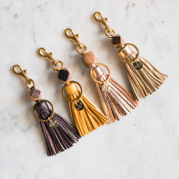 Wine Barrel Tassel Keychains - Olive and Poppy