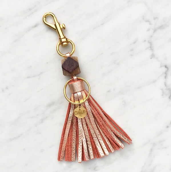 Rosé Wine Barrel Tassel Keychain - Olive and Poppy