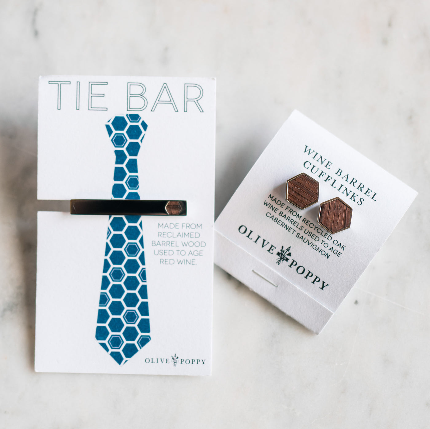 Barrel Cufflink and Tie Bar Gift Set - Olive and Poppy