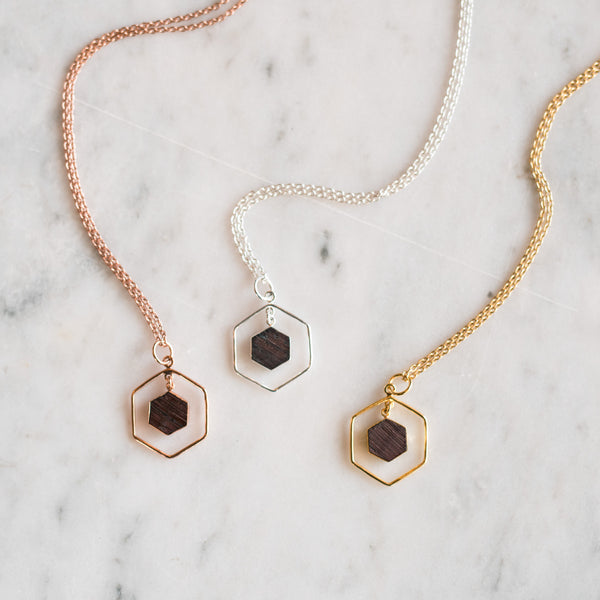 Double Hexagon Barrel Necklace - Olive and Poppy