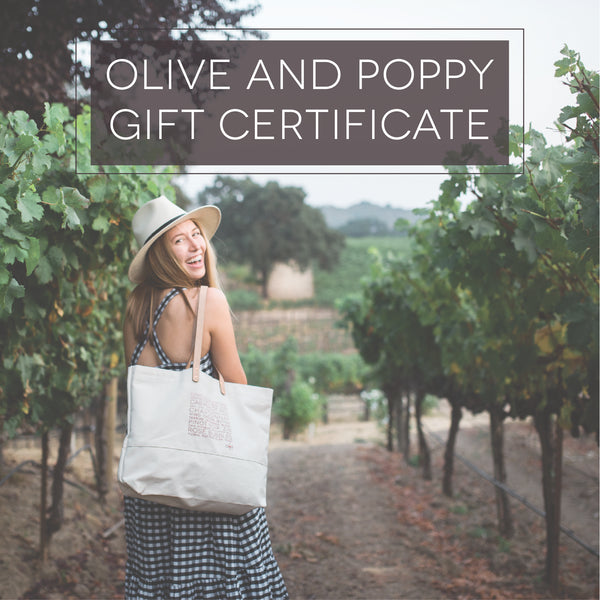 Olive and Poppy Gift Certificate - Olive and Poppy