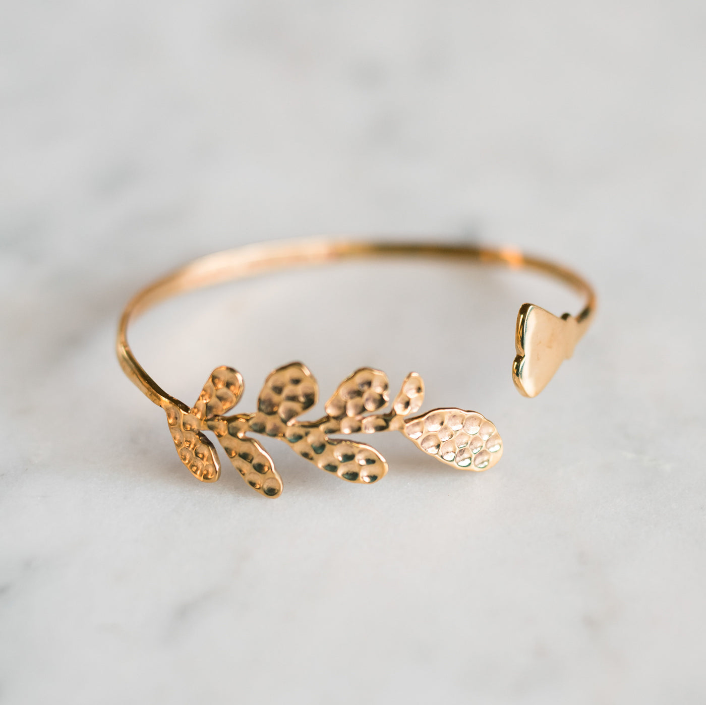 Olive Leaf and Poppy Flower Cuff Bracelet -Gold Only - Olive and Poppy