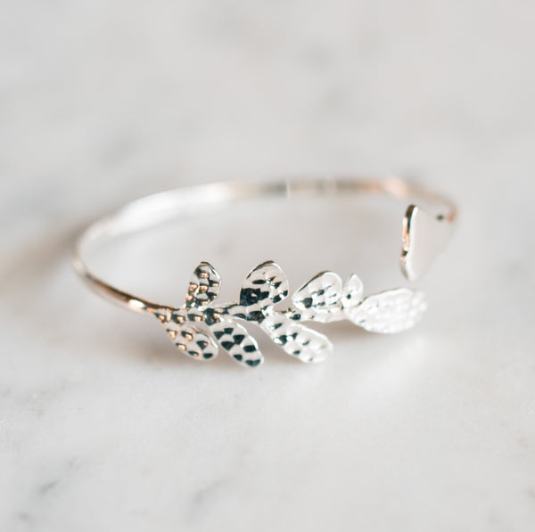 Olive Leaf and Poppy Flower Cuff Bracelet - Olive and Poppy