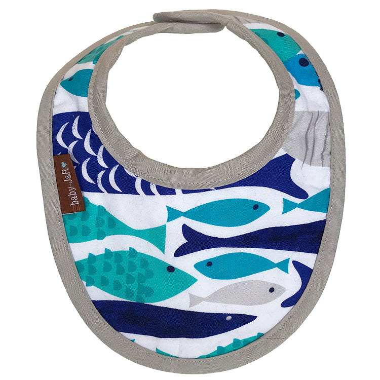 drool bib with fish print 0-6 size bibs