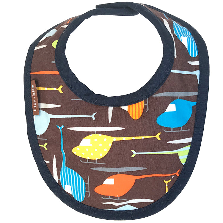 drool bib with Helicopter print 0-6 size bibs