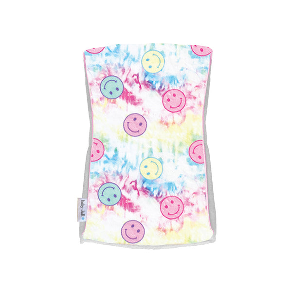Single Plush Burp Cloth - Pink Tie Dye Smiley