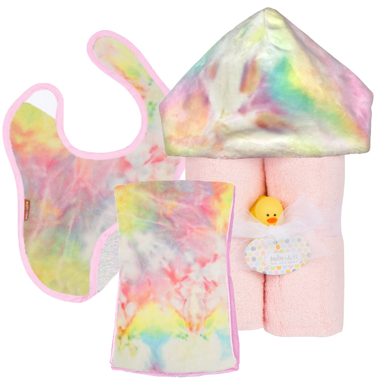 Pastel Rainbow Tie Dye Gift Set - Towel, Burp and Bib