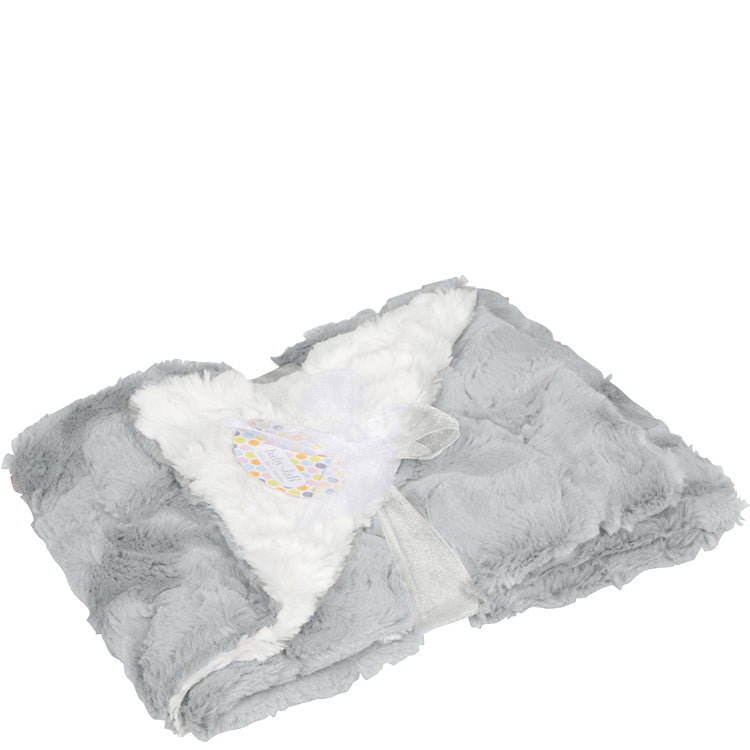Silver and Cream Luxe Cuddle Cozy Blanket