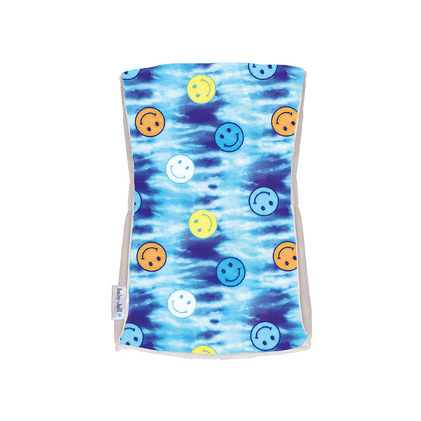 Single Plush Burp Cloth - Blue Tie-Dye Smiley