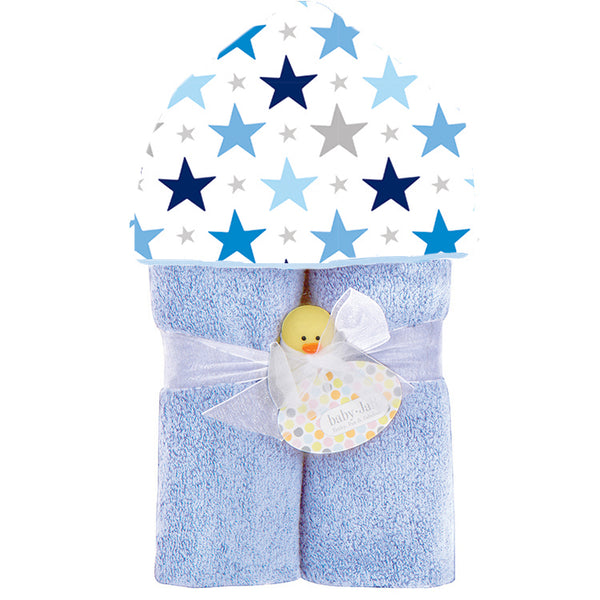 Navy, Blues and Silver Star print on baby blue terry towel