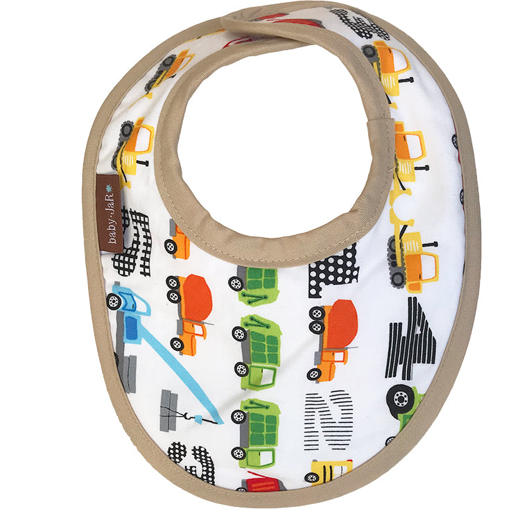 drool bib with vertical truck print 0-6 size bibs
