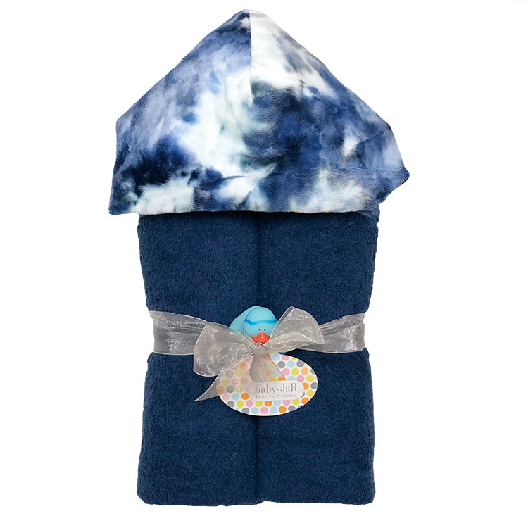Navy Tie Dye Deluxe Hooded Towel