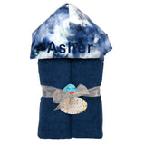 Plush Hooded Towel - Navy Tie Dye