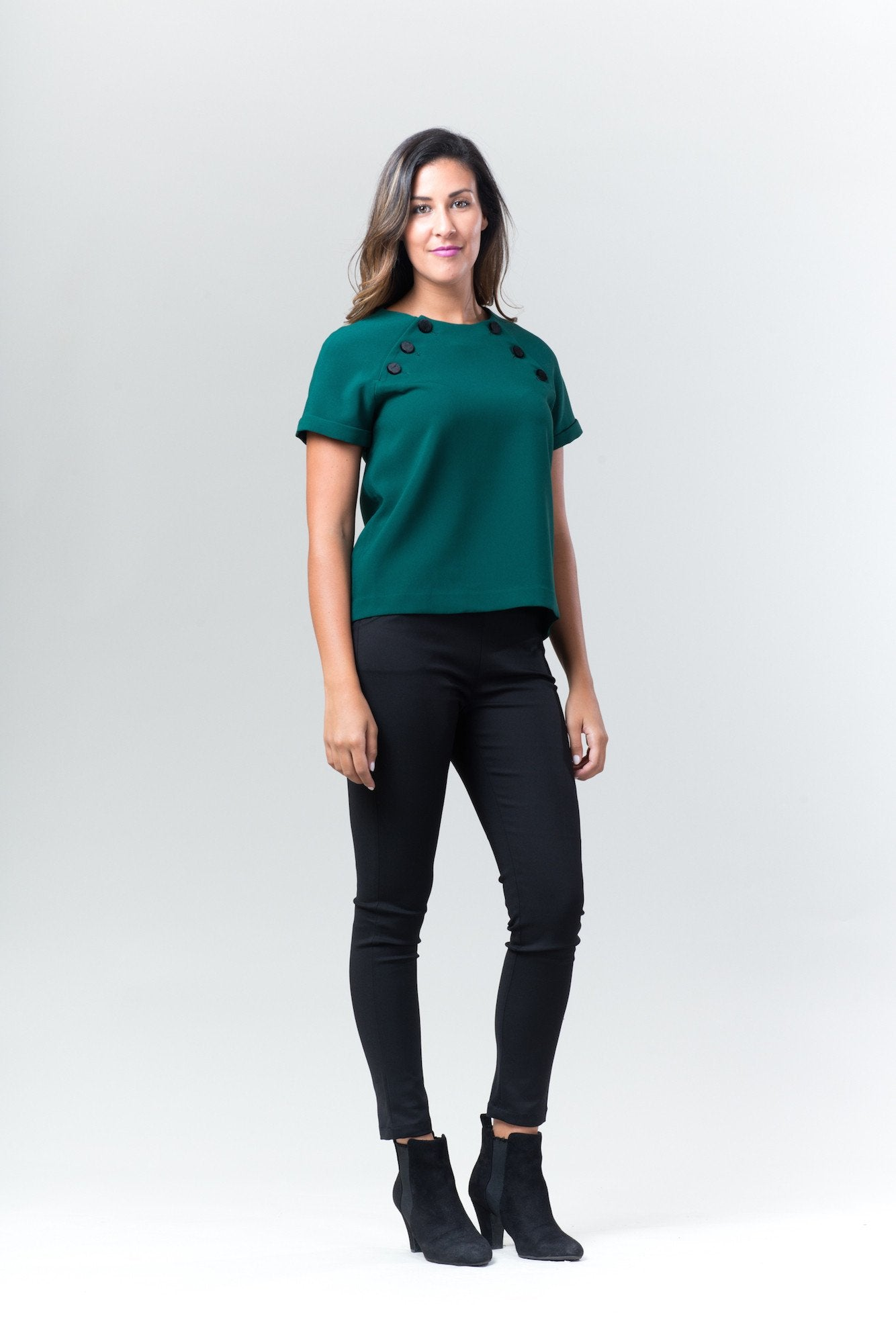 Forrest Green short sleeve top with covered buttons by FRNCH