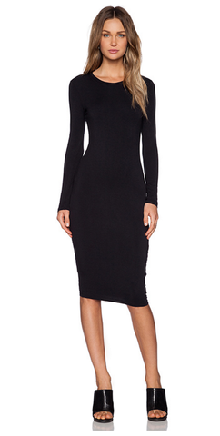 Long Sleeve Midi Dress -Black - Reina Valentina