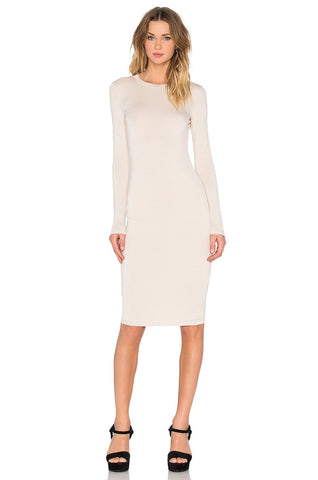 Long Sleeve Midi Dress -Cream - Reina Valentina
