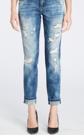BOYFRIEND DISTRESSED SKINNY JEANS