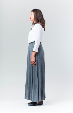 Cordion Ribbed Maxi Skirt - Grey - Reina Valentina