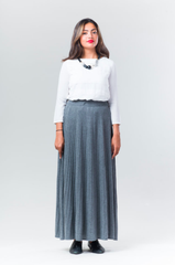 Cordion Ribbed Maxi Skirt - Grey