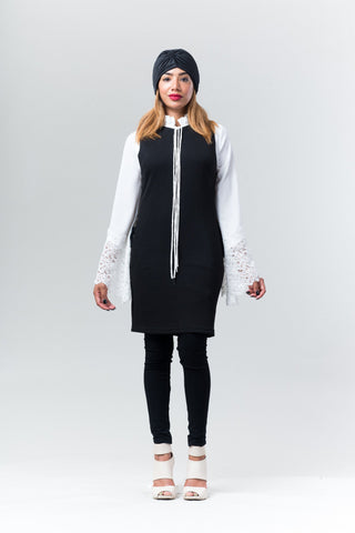 Esra Lace-up Tunic Dress
