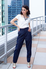 Paz Navy & Gold Striped Pants - Reina Valentina