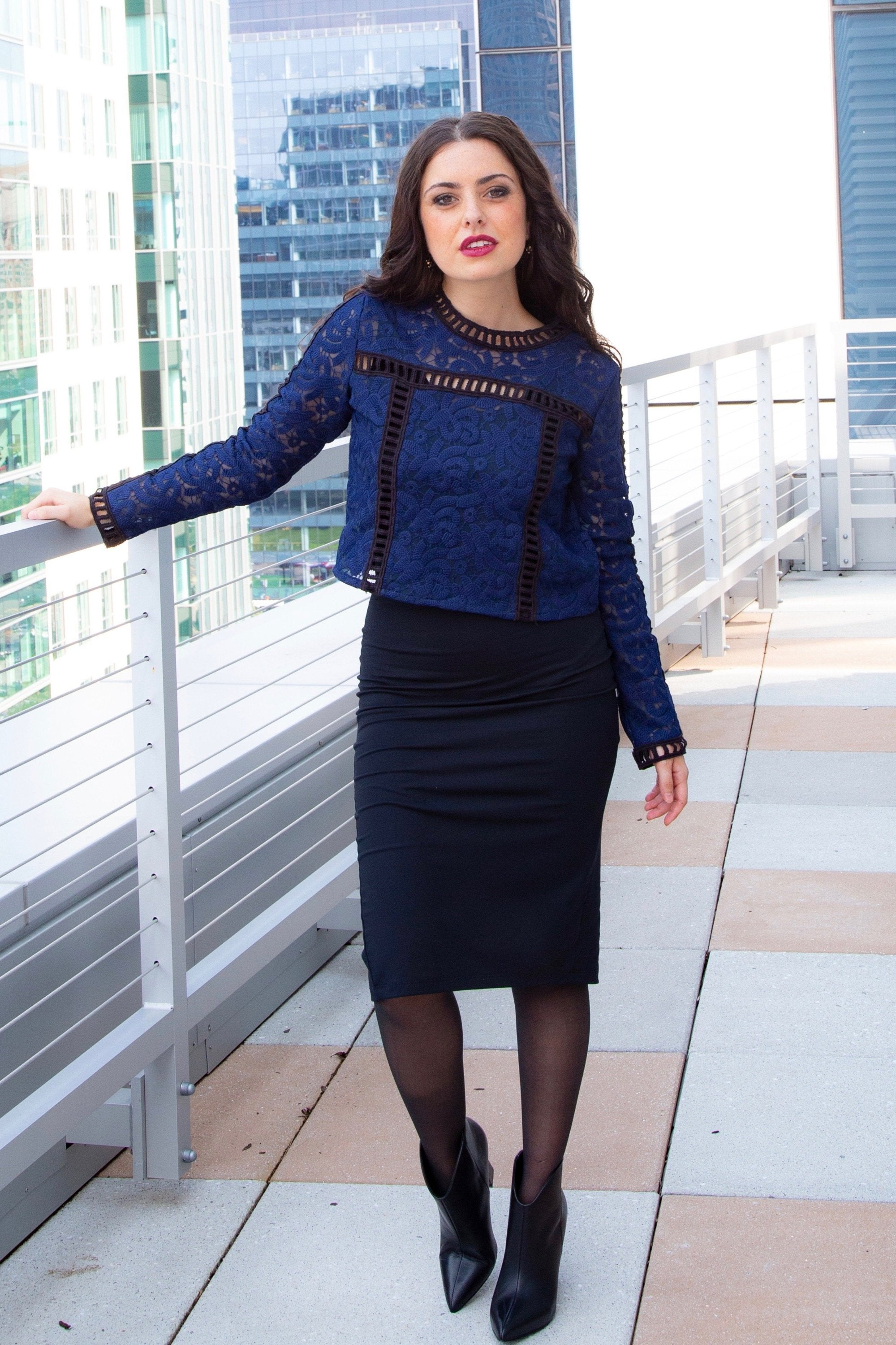 PENNY PENCIL SKIRT - BLACK - Reina Valentina