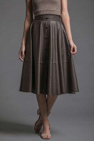 Brown Vegan Leather Midi Skirt - Reina Valentina