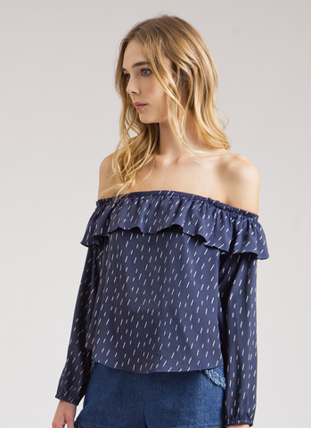 Navy Thunder Bolt Off The Shoulder Top - Reina Valentina