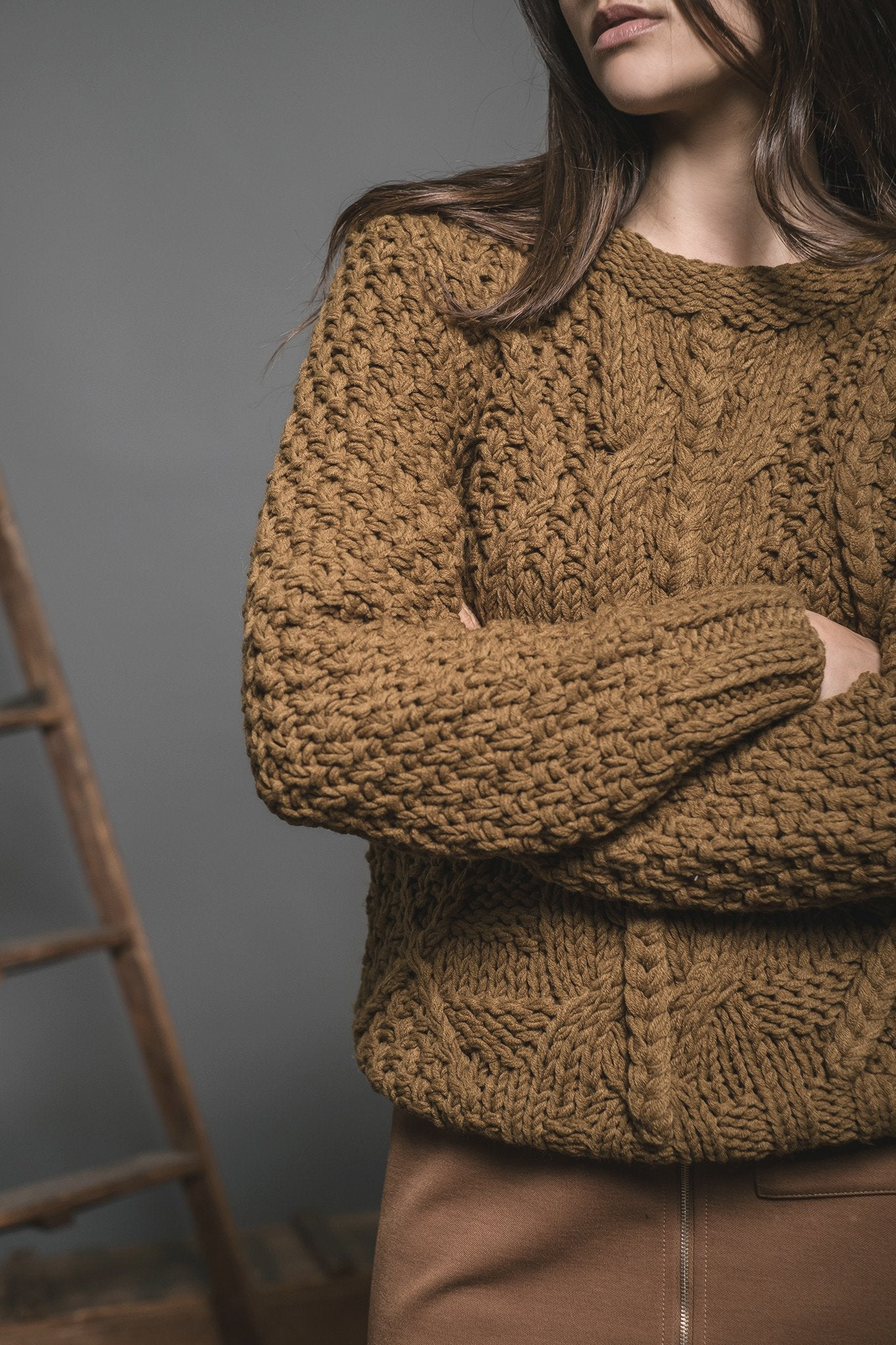 Olive Cable Knit Sweater - Reina Valentina