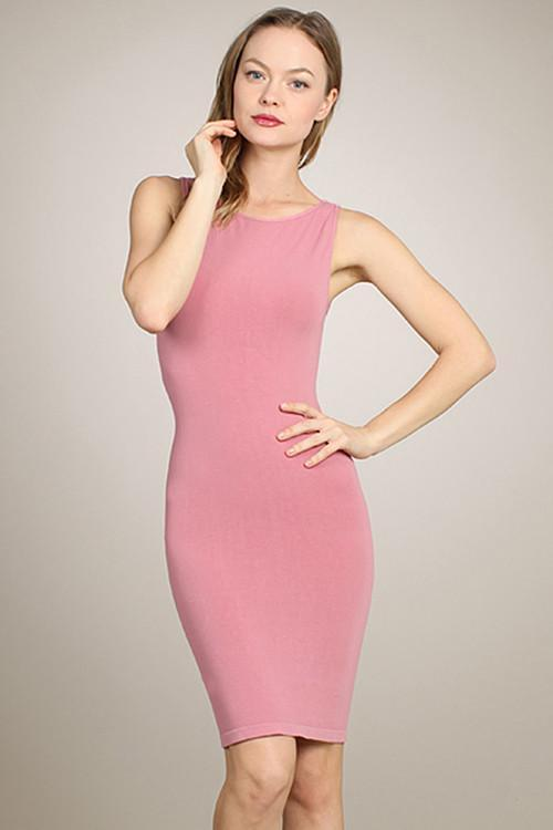 Boatneck Tank Slip Dress - Rose - Reina Valentina