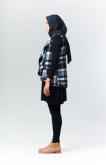 PLAID FLEECE RUFFLE VEST