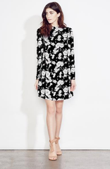 Mock Neck Floral Mini Dress - Reina Valentina