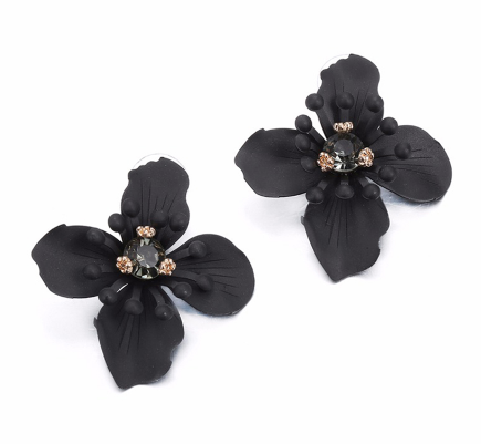 Black Flower Earrings - Reina Valentina
