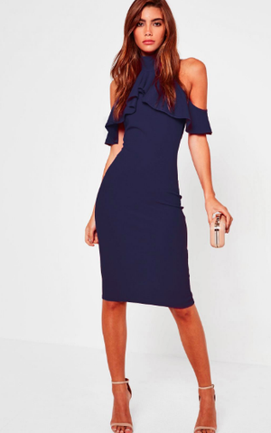 Navy Frill Cold Shoulder Midi Dress - Reina Valentina