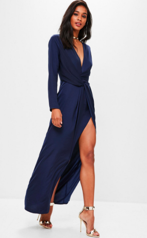 Navy Wrap Front Maxi Dress - Reina Valentina