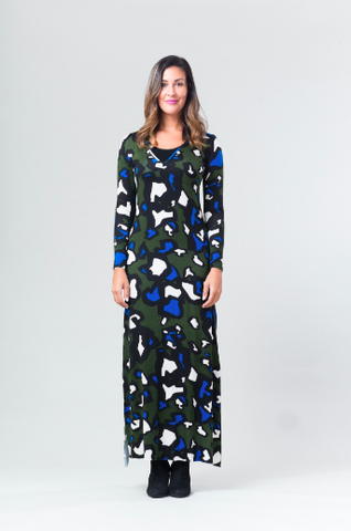Stevie Dress - Olive Animal