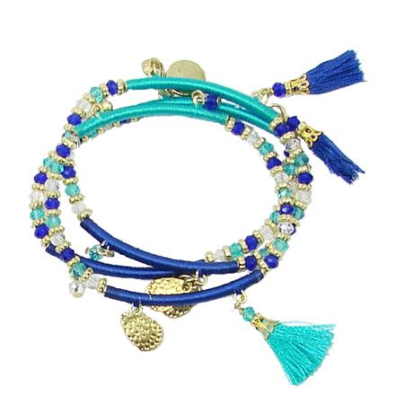 Triple Threaded Charm Bracelet - Blue - Reina Valentina