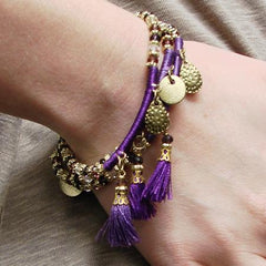 Triple Threaded Charm Bracelet - Purple - Reina Valentina