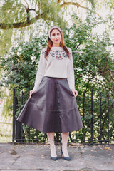 Brown Vegan Leather Midi Skirt