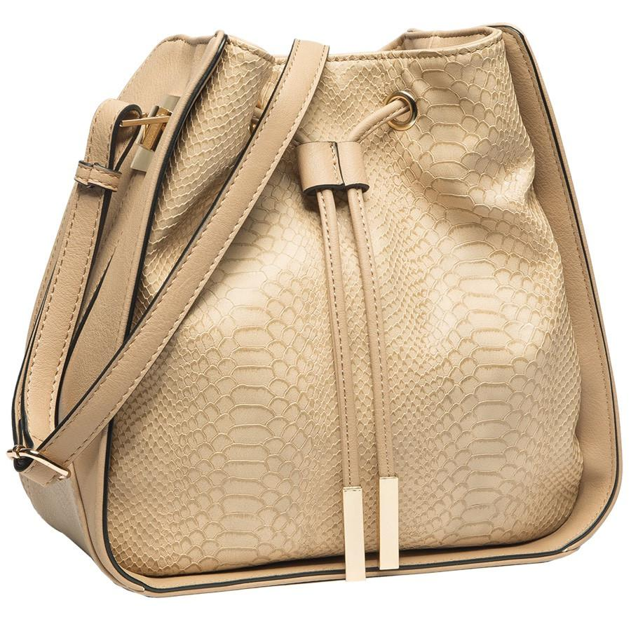 Alexandra Structured Bucket Bag - Beige