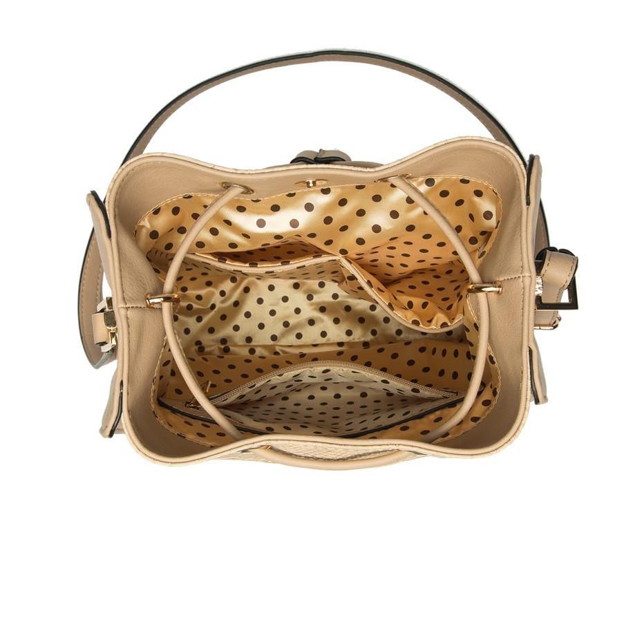 Alexandra Structured Bucket Bag - Beige - Reina Valentina