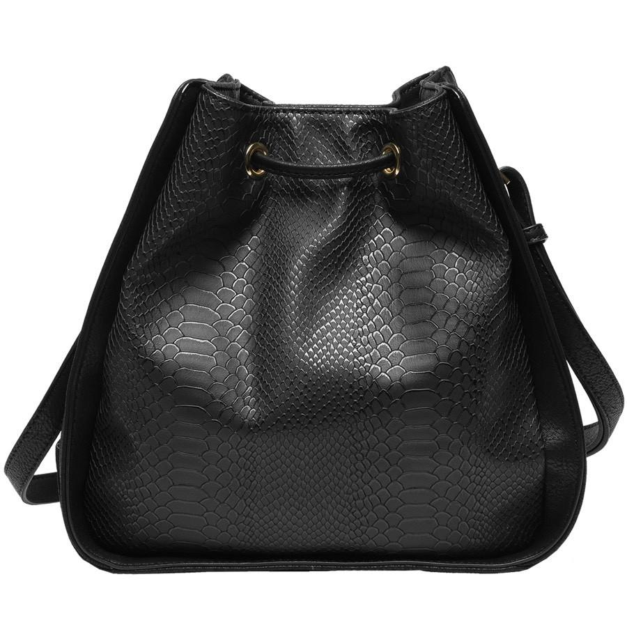 Alexandra Structured Bucket Bag - Black - Reina Valentina