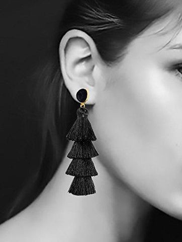 536482a47 Black Tassel Earrings - Reina Valentina