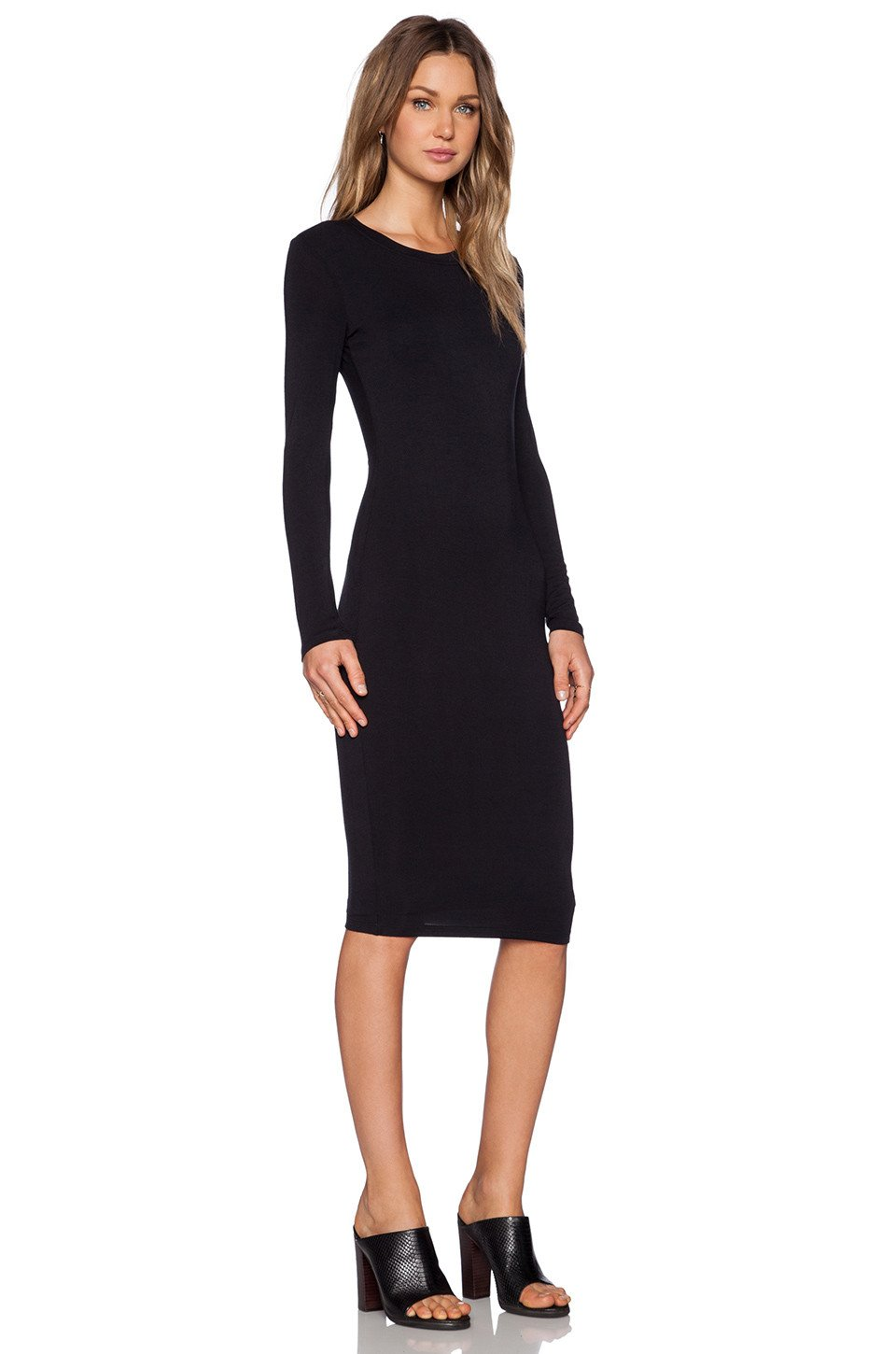 98f327787d7d Long Sleeve Midi Dress -Black – Reina Valentina
