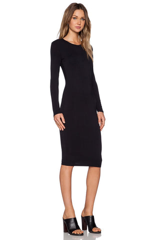 Long Sleeve Midi Dress -Black