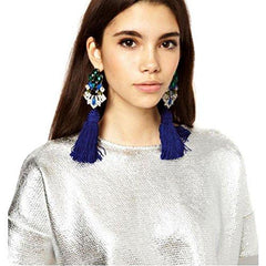 Blue Ivy Jeweled Tassel Earrings - Reina Valentina