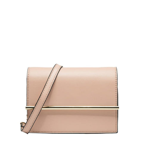 Corrine Metal Bar Flap Shoulder Bag - Blush - Reina Valentina